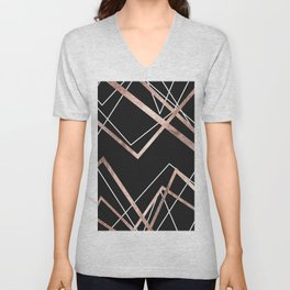 Rose Gold Black Linear Triangle Abstract Pattern Unisex V-Neck