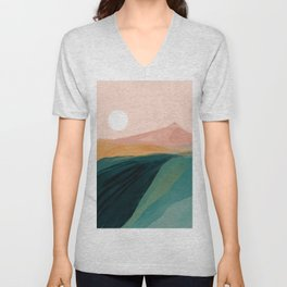 pink, green, gold moon watercolor mountains Unisex V-Neck