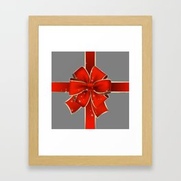 Red Bow on Silver Framed Art Print