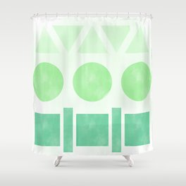 Green Shapes Shower Curtain
