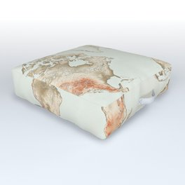 Vintage World Map Outdoor Floor Cushion
