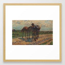 NILS KREUGER,   (HORSES ON THE ROAD). Framed Art Print