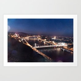 NIGHT TIME IN BUDAPEST Art Print