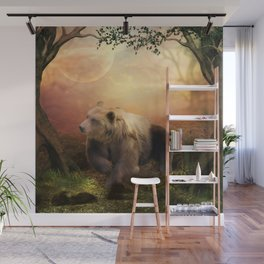 Awesome bear in the night Wall Mural