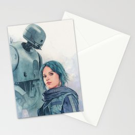 Jyn Erso and K-2so Stationery Cards
