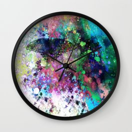 Butterfly abstract art by Ann Powell Wall Clock