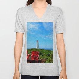 Louisbourg Lighthouse Unisex V-Neck