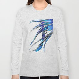 Abstract Blue And White Art - Flowing 5 - Sharon Cummings Long Sleeve T-shirt