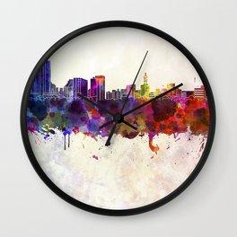 Niigata skyline in watercolor background Wall Clock