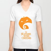 nightmare before christmas V-neck T-shirts featuring The Nightmare before Christmas by Citron Vert