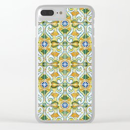 Seamless Floral Pattern Ornamental Tile Design : 9 yellow, green Clear iPhone Case