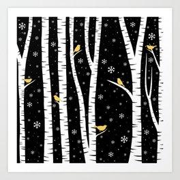 Birch Forest - Winter Idyll Art Print