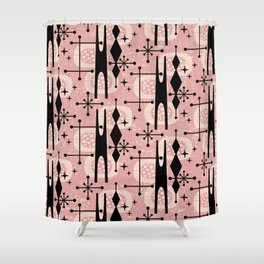 Retro Atomic Mid Century Pattern 771 Dusty Rose Shower Curtain
