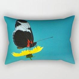 butterfly on yellow flower blue background Rectangular Pillow