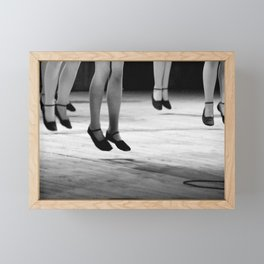 Live with both feet off the ground, inspirational dance black and white photography - photographs Framed Mini Art Print