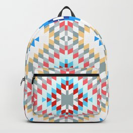 Colorful patchwork mosaic oriental kilim rug with traditional folk geometric ornament Backpack