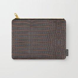 Chestnut Nile Crocodile Leather Print Carry-All Pouch