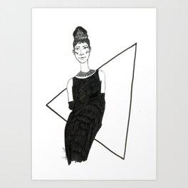 Girl in a black dress Art Print