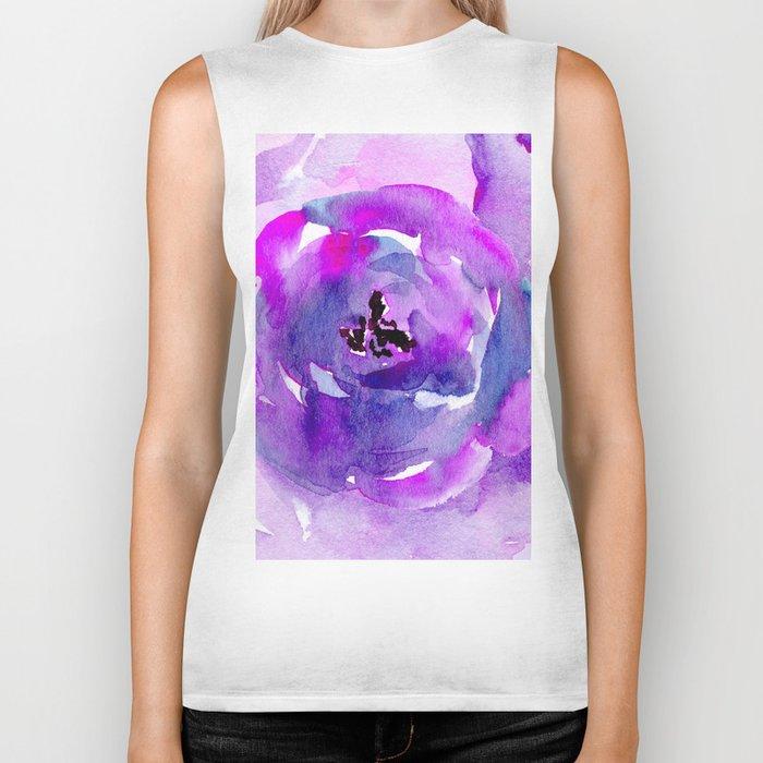 Purple pink flower Biker Tank