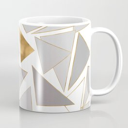 Modern Minimalist Gold Strokes Gray Triangles Coffee Mug