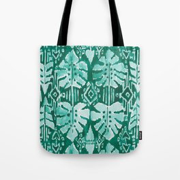 JUNGLE IKAT Green Tropical Monstera Tote Bag