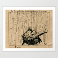 Old Scratch, the fish that always gets away. Art Print