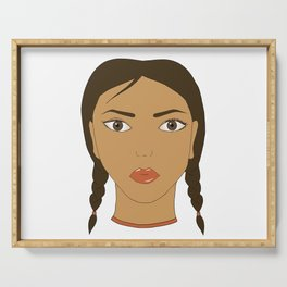 A girl with two braids. Art. Serving Tray