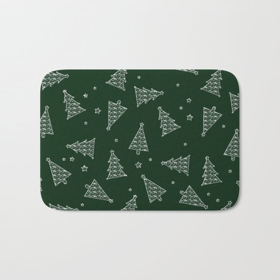 Merry Christmas- Abstract christmas tree pattern on festive green Bath Mat