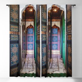 Moroccan painted doors and marble hallway in Marrakech, Morocco Blackout Curtain