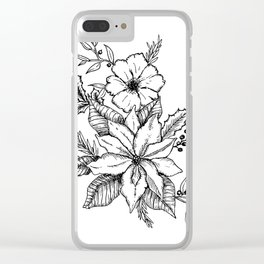Poinsettia Florals & Winter Berries Clear iPhone Case