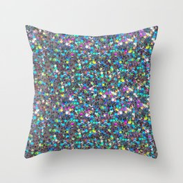 Sparkle Confetti Stars | Multi-color with Silver Tint | Throw Pillow