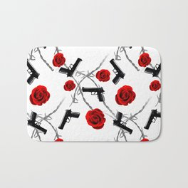 Roses Barbed Wire Guns Pattern Love Is War Bath Mat