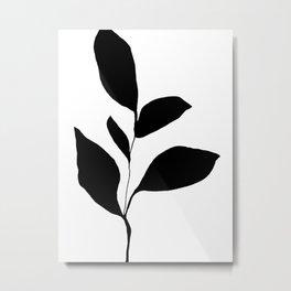 Five Leaf Plant Black Silhouette Metal Print