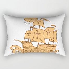 Caravel Sailing Ship Moon Drawing Rectangular Pillow