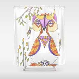 Whimsical Mama Owl and Baby Owls Shower Curtain