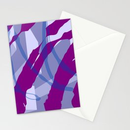Purple Streaks & Blocks Abstract Art Stationery Cards