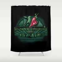 bioshock Shower Curtains featuring Big Daddies, Little Sisters by TEEvsTEE