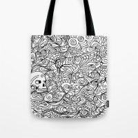 moriarty Tote Bags featuring MEMENTO MORIARTY by Allison Kolarik