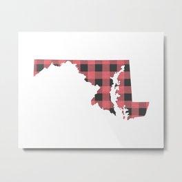 Maryland Plaid in Pink Metal Print