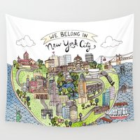 new york city Wall Tapestries featuring New York City Love by Brooke Weeber