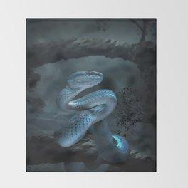 Blue Viper Snake Digital Art Throw Blanket