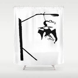 Vulture in the lamppost Shower Curtain