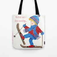 ski Tote Bags featuring Ski Boy by iCraftCafé