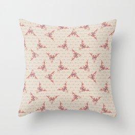 Pink kawaii cartoon deer skull animal. Throw Pillow