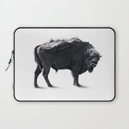 Bison Mountain Black and white art Laptop Sleeve