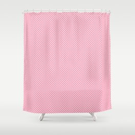 Houndstooth White & Pink small Shower Curtain