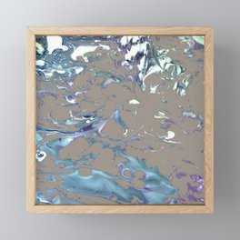 Greige, Gray, Beige, Teal, Navy and Purple Abstract Framed Mini Art Print