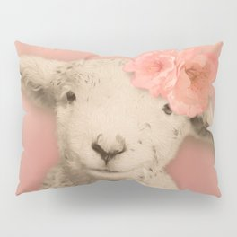 Flower Sheep Girl Portrait, Dusty Flamingo Pink Background Pillow Sham