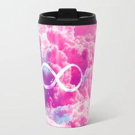 Girly Infinity Symbol Bright Pink Clouds Sky Travel Mug