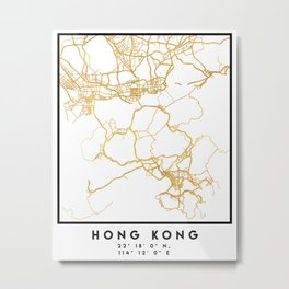 HONG KONG CHINA CITY STREET MAP ART Metal Print